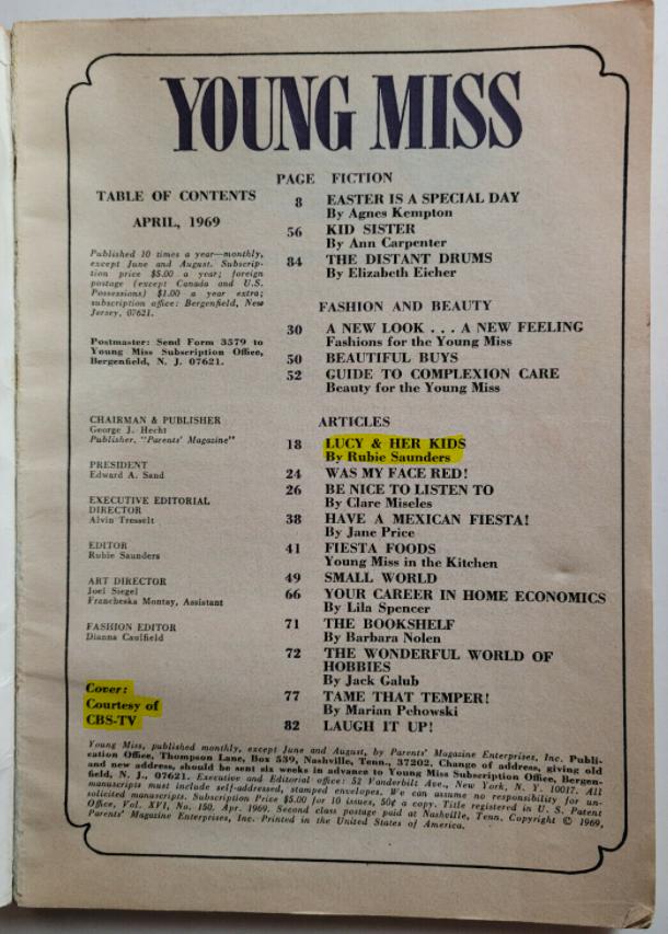 Young Miss Header April 1969