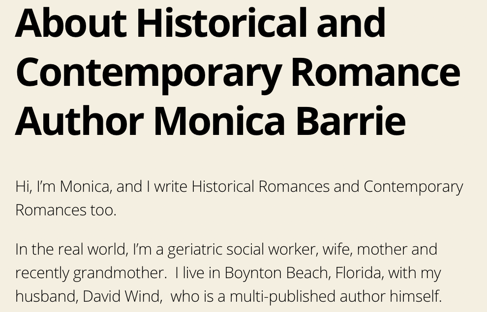 """Screenshot with headline """"About Historical and Contemporary Romance Author Monica Barrie"""""""